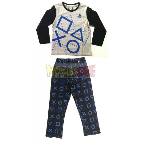 Pijama manga larga niño PlayStation gris - negro 9 años 134cm