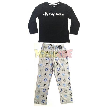 Pijama manga larga niño PlayStation negro - gris 12 años 152cm