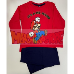 Pijama manga larga niño Mario - It's a me, Mario rojo - azul 4 años 104cm