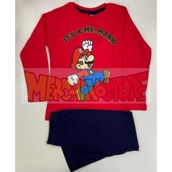 Pijama manga larga niño Mario - It's a me, Mario rojo - azul 8 años 128cm