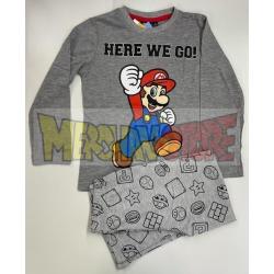 Pijama manga larga niño Mario -Here we go! gris 6 años 116cm